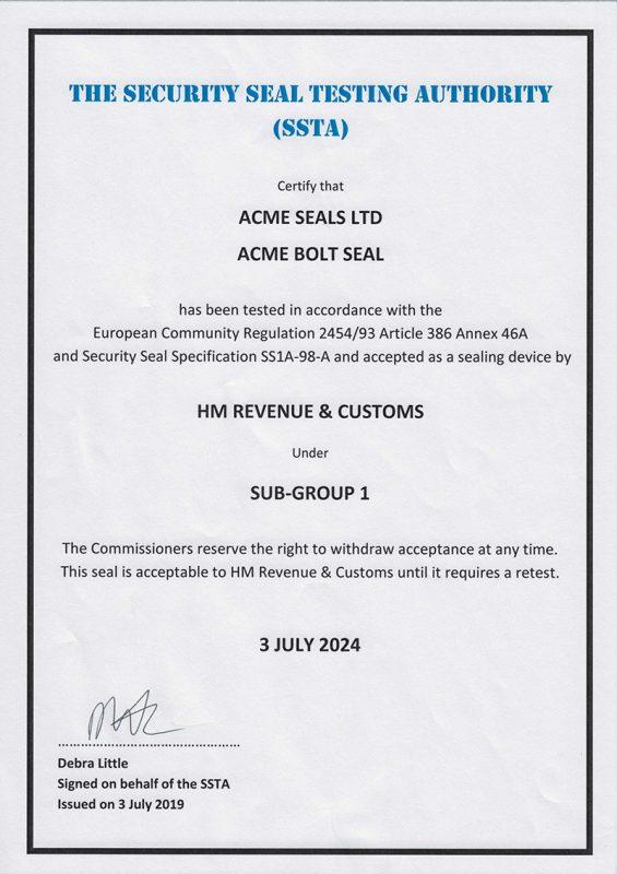 Acme HMRC Bolt Seal